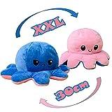 KUNSTIFY Oktupus Stimmungs Kuscheltier XXL Oktopus Plüsch wenden XXL Mood Octopus Plüschtier XXL Kuscheltier groß, riesen Geschenke für Frauen Beste Freundin Kinder Geschenke 30cm Pink Blau