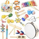 Rabing Kinder Musikinstrumenten Spielzeug Set, Hölzernes Musikinstrumentkindertamburin-Xylophonspielzeug, Musikspielzeugrucksack der frühen Kindheit