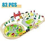 Nuheby Holzeisenbahn Eisenbahn Kinder 82 Teile Holzzug Bahnset mit Brücke und Holzauto Spielzeug Konstruktionsspielzeug ab 3 4 5 6 Jahren Junge Mädchen