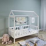 Hausbett Kinderbett Jugendbett 90x200 Matratze optional mit Rausfallschutz & Lattenrost weiß 200 x 90 für Mädchen und Jungen