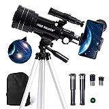 FREE SOLDIER Teleskop Astronomie für Kinder & Anfänger - 15X-150X Astronomisches Teleskop Profi für Erwachsene 70mm Fernrohr Teleskop mit Verstellbarem Stativ Smartphone Adapter und Mondfilter