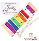 Glockenspiel aus Holz mit Schägeln und Notenbuch (SCHMETTERLINE)