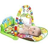 Luchild Musik Erlebnisdecke, baby Spielmatte, Fitness Krabbeldecke mit weichem Spielbogen und Piano, Spielbogen mit 5 abnehmbaren Spielzeugen ab 0 Monaten
