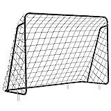 SONGMICS Fußballtor für Kinder, schnelle Montage, Garten, Park, Strand, Eisenrohre und PE-Netz, 215 x 150 x 76 cm schwarz SZQ215BK