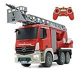 Jamara 404960 - Feuerwehr Drehleiter 1:20 Mercedes Antos 2,4G  deutsche Sirene mit blauen LED Signallichtern, 420 ml Wasserbehlter, reale Spritzfunktion, programmierbare Funktionen, 4 Radantrieb