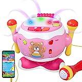 Baby Musical Trommel Toy,Rabing Musik Schlagzeug Kinder mit Blinkenden Lichtern und Mikrofon Baby Lernspielzeug für 1-6 Jahre Kinder Lernen Lernspielzeug,360 ° Freie Rotation Drums,Rosa