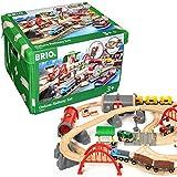 BRIO Eisenbahn Schienen Set Deluxe Mit Straßen Und Schienen, Brio World Eisenbahn Zubehör, Holzeisenbahn