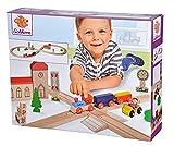 Eichhorn – Schienenbahn – 35-teilige Holzeisenbahn für Kinder ab 3 Jahren, mit Schienen, Zug, Kirche, Holzauto, uvm., 290 cm Streckenlänge