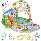 Spielmatte Baby mit Spielbogen, Spieldecke für Baby mit Musik und Lichtern, Kick und Play Piano Mat für Neugeborene Kleinkinder, Lernspielzeug für Jungen und Mädchen im Alter von 0-6-12 Monaten(Blau)