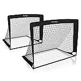 Racetex 2er Fußballtor Kinder Set - Fußball Tore inkl. nützlicher Tasche zum Transportieren - Version mit verstärkten Glasfaserstangen - Fussballtore für den Garten oder Park
