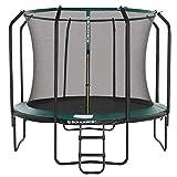 SONGMICS Trampolin 305 cm, rundes Gartentrampolin mit Sicherheitsnetz und Leiter, gepolstertes Gestell, für Kinder und Erwachsene, schwarz-dunkelgrün STR103C01