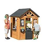 Backyard Discovery Spielhaus Sweetwater aus Holz   Outdoor Kinderspielhaus für den Garten inklusive Zubehör   Gartenhaus für Kinder mit Fenstern in Braun & Schwarz