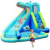 COSTWAY Hüpfburg aufblasbar, Wasserrutsche Aufblasbare Spielpool, Wasserspielcenter mit Rutsche, Wasserpark Planschbecken 350x300x225cm