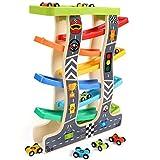 Lewo Kugelbahn Auto Holz mit 8 Fahrzeuge Auto Rennbahn Holz Spielzeug mit Parkplatz Holzrampe Racer Kleinkind Spielzeug für 3 4 5 Jahre Alte Mädchen Jungen Kinder