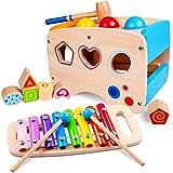 Rolimate Xylophon und Hammerspiel Spielzeug ab 1 Jahr, 3 in 1 Montessori Pdagogisches Vorschullernen Musikspielzeug Holzspielzeug Nachziehspielzeug Geburtstagsgeschenk fur Kinder Baby 1 2 3 Jahre
