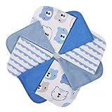Momcozy Baby Waschlappen, 8 Stück Baby Handtücher Set, Weiche Baby Gesichtstücher, Spucktücher Baby, Baumwolle Mulltücher Baby, Baby Badetuch für Babys, Mädchen, Jungen, 25 X 25 cm, Blau