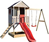 Wendi Toys Kinder Garten Spielhaus | Spielturm mit Rutsche und Schaukel | Rot Stelzenhaus für Jungen und Mädchen 3-7 Jahre | Umweltfreundliches Kinderspielhaus Holz für Draussen | Gartenhaus Holz