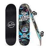 BELEEV Skateboard 31x8 Zoll Komplette Cruiser Skateboard für Kinder Mädchen Erwachsene, 7-Lagiger Kanadischer Ahorn Double Kick Deck Concave mit All-in-one Skate T-Tool für Anfänger (Blau)