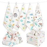 Caiery 10pcs Baby Musselin Waschlappen, Weiche Neugeborene Baby Gesichtstcher, Mehrzweck-natrliche Baumwolle Baby Wipes 30cm*30cm