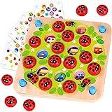 Nene Toys - Marienkäfer-Garten - Memory-Spiel aus Holz für Kinder im Alter von 3, 4, 5 Jahren mit 10 Lustigen Mustern - Pädagogisches Spielzeug, Fördert Gedächtnis und Kognitive Fähigkeiten