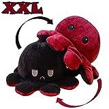 KUNSTIFY XXL Oktupus Stimmungs Kuscheltier, Riesen Stimmungs Oktopus Kuscheltier Tintenfisch wenden Octopus Plüschtier Krake, für Kinder Laune ausdrücken Geschenk für Freundin 40cm Rot Schwarz