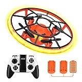 Rolytoy VraiJouet Mini Drohne für Kinder mit Höhehalten und Headless Modus, Quadrocopter mit Nachtlicht, 2 Akkus und Propeller voll zu schützen, Spielzeug Geschenke für Jungen & Mädchen (Orange)