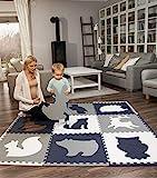 Hakuna Matte große Puzzlematte für Babys 1,8x1,8m – 9 XXL Platten 60x60cm mit Tieren – 20% dickere Baby Spielmatte in Einer umweltfreundlichen Verpackung – schadstofffreie, geruchlose Krabbelmatte