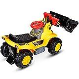 DREAMADE Kinder Sitzbagger, Bulldozer zum Sitzen, elektrischer Trettraktor mit Schaufel (ohne Batterie), realistisches Fahrerlebnis mit Hupe, geeignet für Kinder ab 3 Jahre, gelb