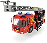 Dickie 203716003 Toys Fire Hero, Feuerwehrauto mit manueller Wasserspritze, Licht-& Soundeffekt, inkl. Batterien, abnehmbares Dach, 43 cm, rot