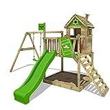 Kinder-Klettergerüst mit Rutsche, Schaukel, Sandkasten etc. 'RockyRanch Roll' (Fatmoose)