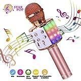 BlueFire Karaoke Mikrofon, Bluetooth Mikrofon Kinder, Tanzen LED Lichter Drahtlose Tragbares Microphon mit Lautsprecher Aufnahme für Erwachsene und Kinder, Kompatibel mit Android IOS PC (Roségold)