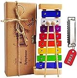 Holz Xylophon für Kinder - mit Mundharmonika und Lieder Buch: Perfekt Glockenspiel f. Kleine Musiker - Erzeugt Magische Klänge mit Kleinen Händen; Baby Schlaginstrument Musikinstrument