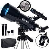 Upchase Astronomisches Teleskop, 400/70mm Refraktor Teleskop Schwarz, Einfach zu Montieren und zu Verwenden, Ideal für Anfänger,Kinder und Erwach für Mond, Planeten und Sternenbeobachtung