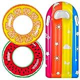 balnore Schwimmring, 3 Stück Schwimmreifen für Kinder Erwachsene mit Sommer Obst, Kinder Luftmatratze Schwimmhilfe Wasserspielzeug für Pool Strand