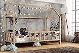 Hausbett 70x140 | Kinderbett 140x70 cm Kinderhaus mit Rausfallschutz Sicherheitsbarrieren Natur Haus Holz Bett