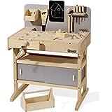 Kinder-Werkbank aus Massivholz mit Werkzeugkiste und echten Werkzeugen (Howa)