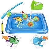 BBLIKE Badespielzeug, 11 Stück Angel-Badewannenspielzeugset mit Uhrwerk Schwimmbad Spielzeug und Aufblasbares Becken, Bad Badewanne Pool Draußen Balkon Spielzeug Für Kleinkinder Jungen Mädchen