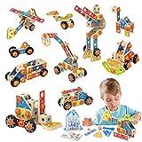 LUKAT Gebäude Spielzeug für Kinder, STEM Bausteine Spielzeug 3 4 5 6 7 8 9 10 Jahre 72 PCS holzspielzeug Lernspielzeug Konstruktionsspielzeug Pädagogisches Spielzeug für Jungen und Mädchen Geschenk
