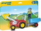 Kinderspielzeug-Traktor mit Anhänger und Spielfigur (Playmobil 1.2.3.)
