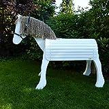 Weißes Outdoor-Holzpferd 'Kleiner Onkel' mit 60 cm Stockmaß (Holzspielzeug Peitz)