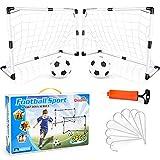 Dreamon 2er Set Kinder Fußballtore mit Fußball ,Tore und Pumpe Fussball Interaktiv Minitore Spielzeug Sportspaß für Garten Indoor