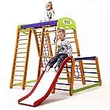 Kinder zu Hause aus Holz Spielplatz mit Rutschbahn ˝Karapuz-Plus-1-1˝ Kletternetz Ringe Kletterwand !Zertifikat!
