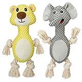 MalsiPree 2er-Pack Plüschtier Quietschendes Hundespielzeug Set - Hunde-Kuscheltier mit Seilbeinen und Knitterohren für Hunde, Welpen, Kleine, Mittlere, Große Rassen Beschäftigung gegen Langeweile