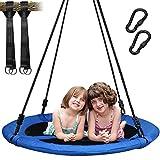 Trekassy 300KG Nestschaukel für Kinder Erwachsene Indoor mit 100cm Sitzflächendurchmesser und 2 600KG belastbaren Schaukel Gurte Blau