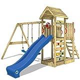 WICKEY Spielturm Klettergerüst MultiFlyer HD mit Schaukel & blauer Rutsche, Kletterturm mit Holzdach, Sandkasten, Leiter & Spiel-Zubehör