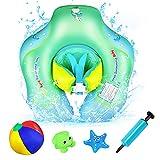 AmzKoi Schwimmring Baby, Baby Schwimmen Schwimmhilfe Ring, Kleinkind Kinder Baby Schwimmtrainer mit Sicherheitsgurt, Anti-Umkippen Aufblasbare Schwimmreifen Schwimmsitz für Kinder ab 6 bis 30 Monate