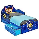 Paw Patrol Bett mit Aufbewahrungsschublade für Kleinkinder, Holz, blau, 143 x 77 x 68 cm