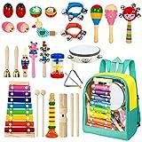 AILUKI 24 Stück Musikinstrumente Musical Instruments Set, Holz Percussion Set Schlagzeug Schlagwerk Rhythm Toys Musik Kinderspielzeug für Kleinkinder