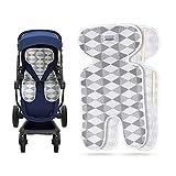 Luchild Atmungsaktive Sitzeinlage Universal Sommer Sitzauflage für Kinderwagen, Buggy, Kindersitz und Babyschale - Kühlt und schützt den Sitzbezug vor Flecken (grau-Dünn)