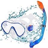 KUYOU Premium Kinder Schnorchelset Taucherbrille mit Schnorchel Tauchset gehrtete Anti-Beschlag Glser Taucherbrille wasserdichte Tauchmaske und trockenem Schnorchel Set (Blau)